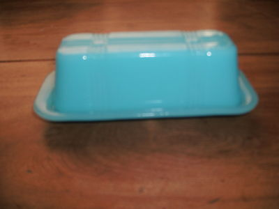 Blue Milk Glass Butter Dish for Quarters
