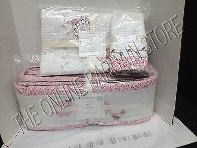 Pottery Barn Kids Bethany Crib Nursery Baby Bumper Quilt Bed Skirt 3 Piece Set