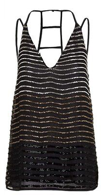 Size 12 Topshop New womens stunning black beaded embellish plunge cami top