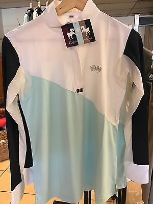 Equine Couture Sawyer Show Shirt Ladies Large Gorgeous BNWT High End Fabric!!