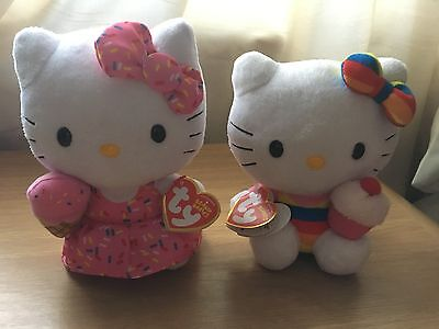 Hello Kitty TY Beanie Babies Set of Two 6 inch Ice Cream and Cupcake Cute Plush