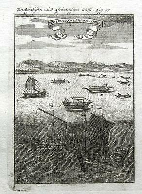 SAILING SHIPS & VESSELS OF AFRICA & ASIA, Allain Mallet Antique print 1719