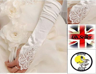 Bridal Gloves Stretchy Fingerless Evening Formal Party Occasion UK Seller