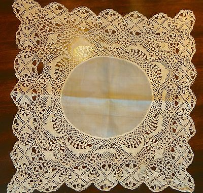 ANTIQUE SILK MALTESE LACE WEDDING HANKIE CIRCA 1800s AS IS 13 INCH