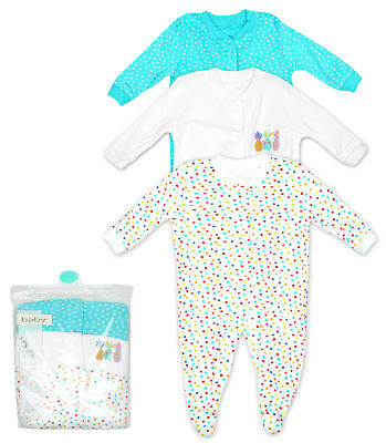 Girls Sleepsuit 3 PACK Romper Pineapple Cotton Newborn Baby to 24 Months