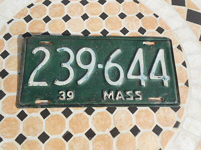 1939 Massachusetts License Plate In Very Good Condition
