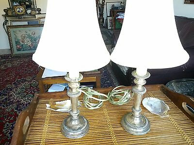 Antique Sheffield Pair Of Electric Candle Holder SilverPlate On Copper Vtg Shade