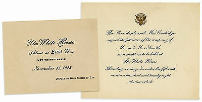 Calvin Coolidge Invitation to Dinner at the White House