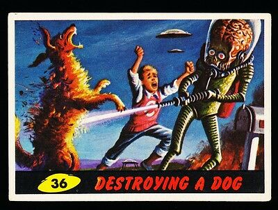 1962 TOPPS MARS ATTACKS CARD # 36 ~ DESTROYING A DOG ~ EX Or Better