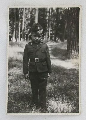 Small soldier, camp follower, a child in a Polish uniform, photo from the 40's.