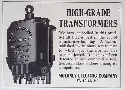Vintage 1905 Ad(F11)~Moloney Electric Co. High Grade Transformers, St.louis