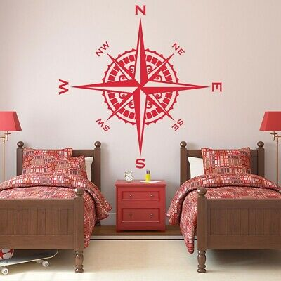 Compass Rose Vinyl Wall or Ceiling Decal nautical themed kids room sticker K621