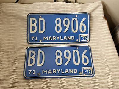 Pair of Antique Maryland 1971 License Plates, Excellent Condition