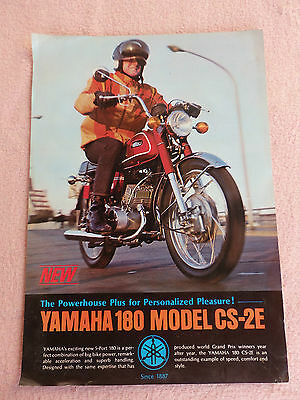 Yamaha 180 Model CS-2E Advertising Poster/Brochure, Classic Japanese Motorcycle.
