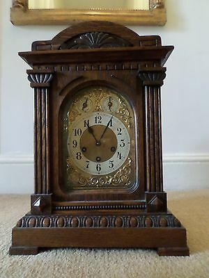 19Th Century Carved Oak Eight Day  Bracket Clock - With  Westminster Chimes