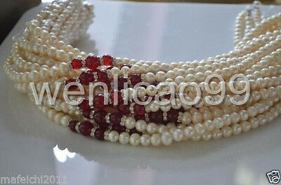 wholesale price!7-8mm White Akoya Cultured Pearl Red jade Necklace 18inch