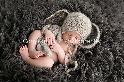 mohair newborn bonnet bunny hat with matching bunny toy grey photo props