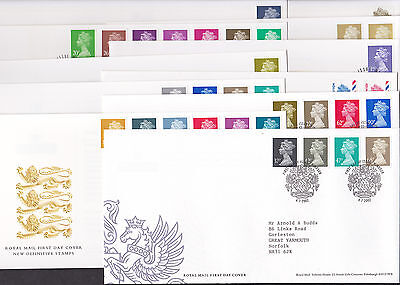 GB Eleven Machin FDCs All Windsor Postmarks