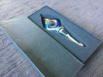 Bottle Stopper, Painted Glass Handle And Stainless Steel Nwot