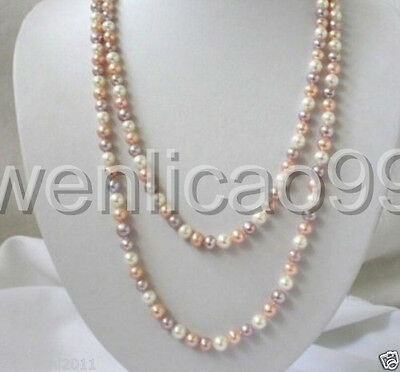 """7-8mm white pink purple Multicolor freshwater Cultured pearls necklace 36"""""""