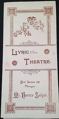 """RARE 1892. LYRIC THEATRE.""""THE MOUNTEBANKS"""" by W. S. GILBERT & ALFRED CELLIER."""