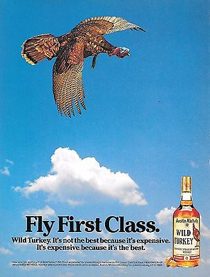 Wild Turkey Full Page Color Print Ad  - Fly First Class - 1986 - Near Mint