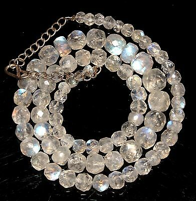 """15""""Natural Blue Fire Play RAINBOW MOONSTONE Faceted Gemstone Beads Necklace-23"""