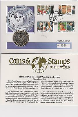 Turks & Caicos Is. 1991 Royal Wedding with Crown Coin - (Cost Originally £12.50)
