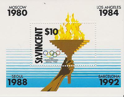 St Vincent 1988 - MS1157  Olympic Flame -  unmounted mint miniature sheet