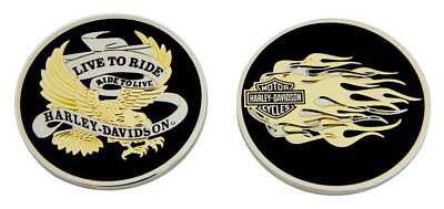 Harley-Davidson Live To Ride Eagle & Flames Challenge Coin, 1.75 in Coin 8007126