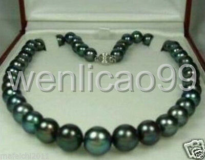 """Natural 9-10mm Tahitian Black Pearl Necklace 18"""" AAA"""
