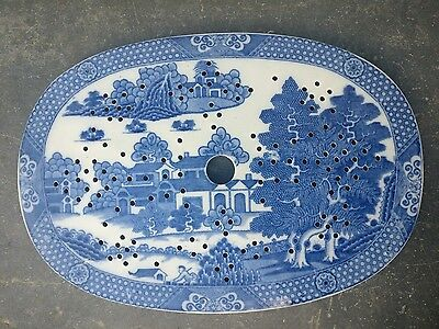 English Pearlware Early 19th.C Blue and White Drainer 14 inch c 1810