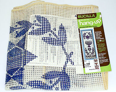 """Bucilla Deluxe Pile Hang Up Latch Hook Rug Wall Panel Shalom Canvas 15""""x48"""" Vtg"""