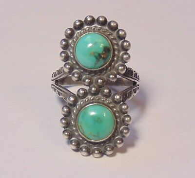 Vintage Pawn Fred Harvey Era Sterling Silver 925 Turquoise Native American Ring