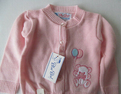 NWT BLUE BIRD Pink Orlon Baby Cardigan Sweater Teddy Bear Balloons Sz 18 Months