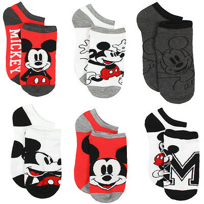 Mickey Mouse 6 pack No Show Socks MK065JNS MK065BNS Disney