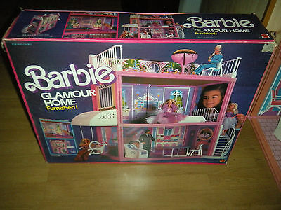 Vintage Barbie Doll Glamour Home House Furnished by Mattel w/ Box & Furniture