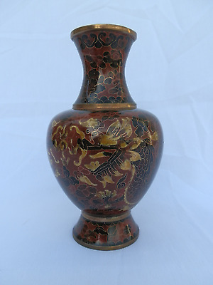 Vintage Chinese Cloisonne Dragon & Flaming Pearl Vase 20th Century