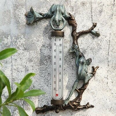 Frog Outdoor Thermometer Home Wall Mounted Art Decor Garden,16''H.
