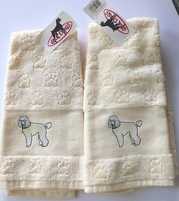 "White Poodle Embroidered Set Of 2 ""Paw Prints"" Plush Terry Cloth Handtowels, NWT"