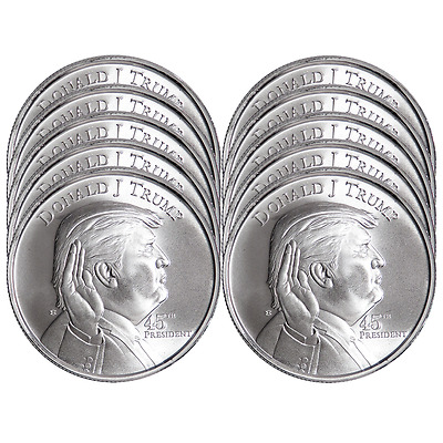 Lot of 10 - 1 Troy oz Donald Trump .999 Fine Silver Round