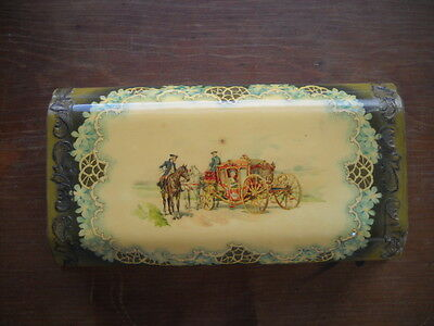 ANTIQUE CELLULOID VANITY PICTURE BOX a