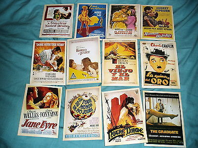 12 X Film Stars Postcards Showing Movie Posters In  Theatres 1950-60
