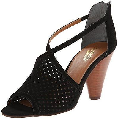 Women's SEYCHELLES Black Perforated Suede GAMBLE Open-Toe Stacked Heel Shoes 6