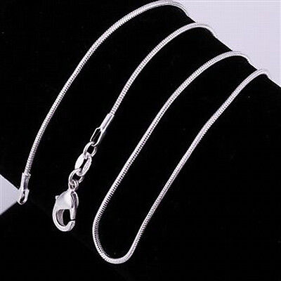 """5 pcs 925 Sterling Silver 20"""" 1mm Snake Chain Necklaces~ New"""