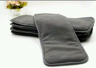 10 Charcoal Bamboo Microfiber Cloth Diaper Inserts Washable Reusable Five Layers
