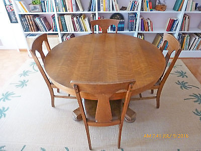 Antique  Oak Pedestal Dining Table And 6 Hale Oak Chairs