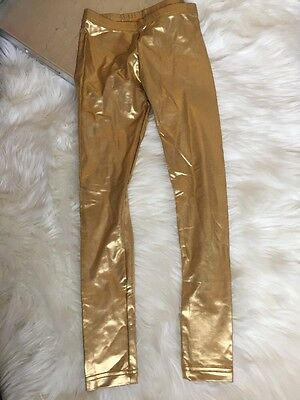 American Apparel Shiny Gold Leggings NWOT Size Small