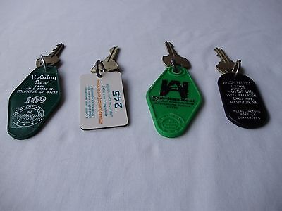 4 Vintage Hotel Motel Room Keys & Key FOBs Lot E FREE Shipping