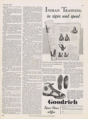 1930 INDIAN Training in Signs & Speed Chief Long Lance Goodrich Sport Shoes Ad